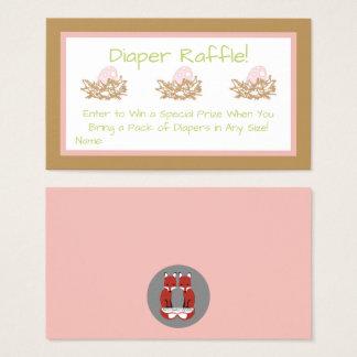 Pink Girl Bird Baby Shower Diaper Raffle Cards