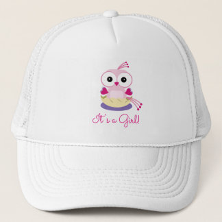 Pink Girl Bird Gender Reveal Baby Shower Trucker Hat