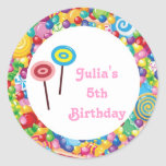 Pink Girl Candy Shop Birthday Party Favour Labels Round Sticker