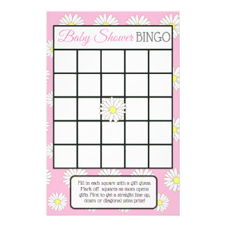 Pink girl Daisy Themed baby shower games Flyer