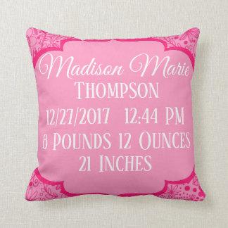 Pink Girl Doodle Flower Floral Birth Statistics Cushion