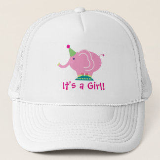 Pink Girl Elephant Gender Reveal Baby Shower Trucker Hat