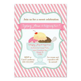 Pink Girl Ice Cream Party Invitation