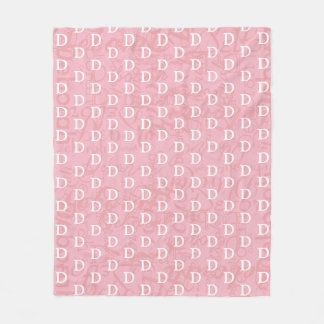 pink girl name & initial (monogram) pattern fleece blanket