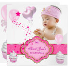 Pink Girl Photo First 1st Birthday Party Card
