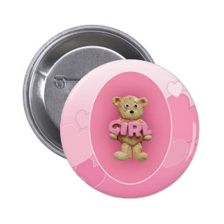 Pink Girl Teddy Bear 6 Cm Round Badge