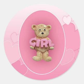 Pink Girl Teddy Bear Round Sticker