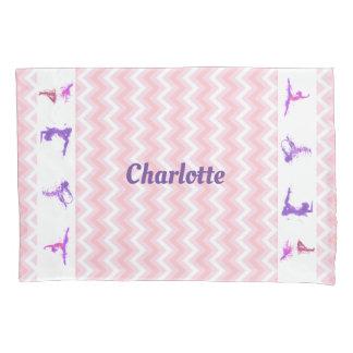 Pink Girls Gymnastics Chevrons Monogram Name Pillowcase