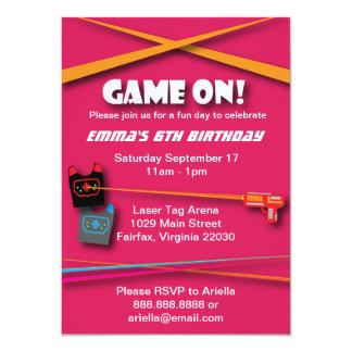 Pink Girl's Laser Tag Birthday Party 11 Cm X 16 Cm Invitation Card