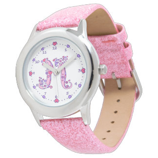 Pink girls monogram letter M personalized watch