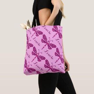 Pink girls name dragonfly pattern personalized bag