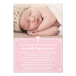Pink Girls Photo Baptism/Christening Invitation