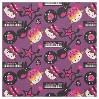 Pink Girls Rock Star Fabric
