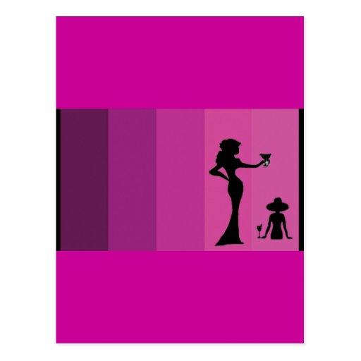Pink Girl's Silhouette Postcard