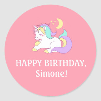 Pink Girl's Unicorn Birthday Party Favor Stickers