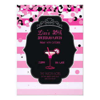Pink - Girly - Adult - Birthday Party - Invitation
