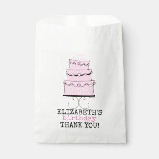 Pink Girly Birthday Cake Thank You Guest Favour Bags