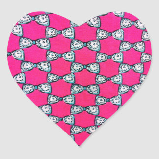 Pink girly  bows heart sticker
