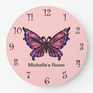 Pink Girly Butterfly Clocks
