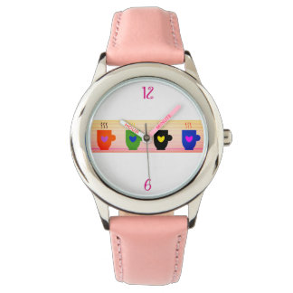 Pink Girly Coffee Time Adorable Cute Charming Chic Watch