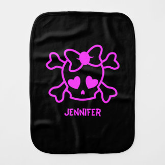 Pink girly emo skull with bow burp cloth