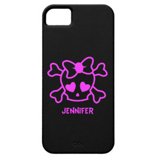 Pink girly emo skull with bow iPhone 5 cover