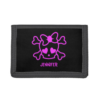 Pink girly emo skull with bow name teen girl trifold wallets