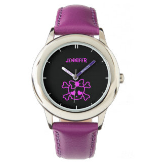 Pink girly emo skull with bow watches