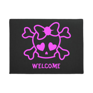 Pink girly emo skull with bow welcome doormat