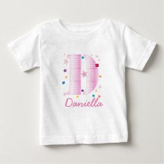 Pink Girly Monogram Pretty Festive Typography Baby T-Shirt