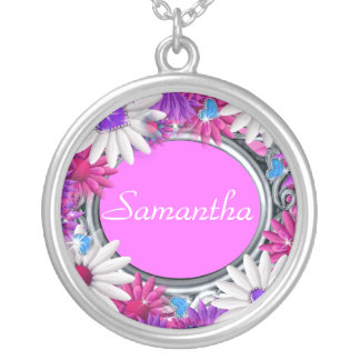 Pink girly name flower bling round pendant necklace