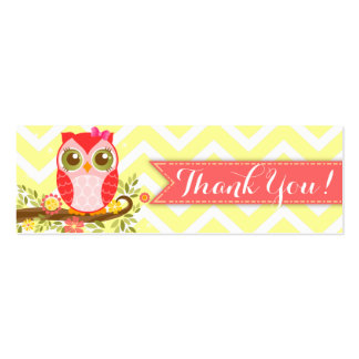 Pink Girly Owl Custom Baby Shower Thank You Tag Business Card Templates
