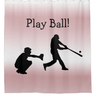 Pink Girly Play Ball Baseball Shower Curtain