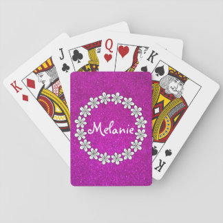 Pink girly playing cards with sparkly glitters