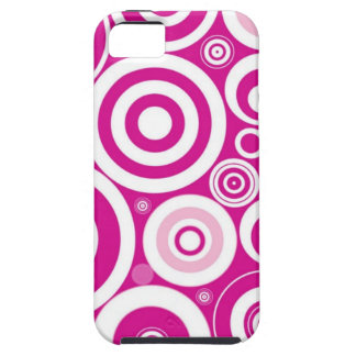 Pink Girly Retro Funky Circles Pattern iPhone 5 Covers