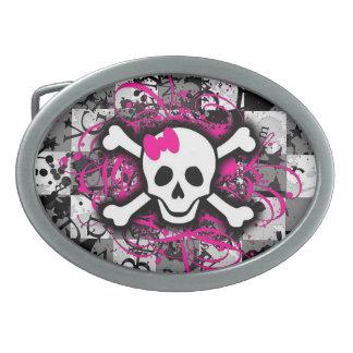 Pink Girly Skull Checkerboard Belt Buckle