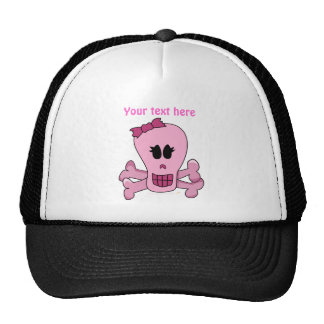 Pink Girly Skull with Bow Halloween or Pirate Cap