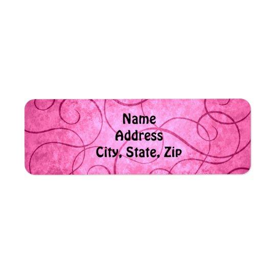 Pink girly swirls return address label