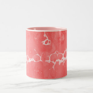 Pink, girly, water texture design, marbling paper, Two-Tone coffee mug