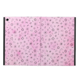 Pink girly watercolor pattern Hearts and Stars iPad Air Cover