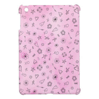 Pink girly watercolor pattern Hearts and Stars iPad Mini Cover