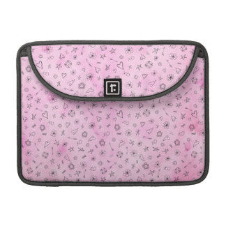Pink girly watercolor pattern Hearts and Stars Sleeve For MacBooks