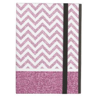 Pink Glam Faux Glitter Chevron iPad Air Cover