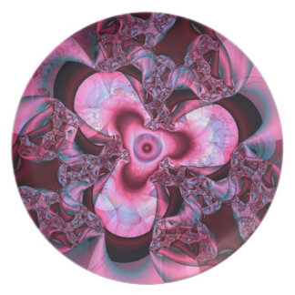 Pink Glass Flower Party Plates