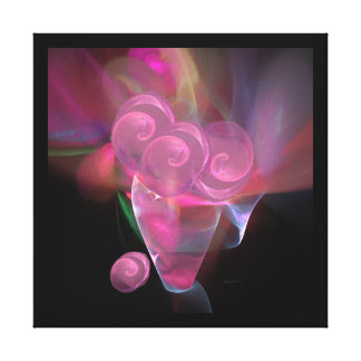 Pink Glass Roses in a Crystal Vase Gallery Canvas