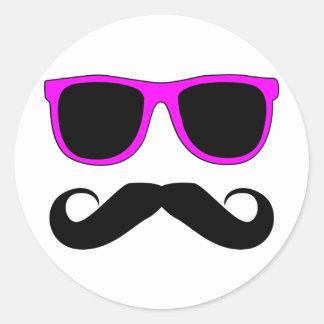 Pink Glasses Mustache Retro Round Sticker