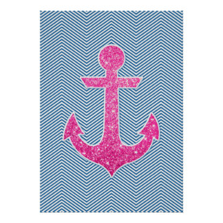 Pink glitter anchor blue chevron posters
