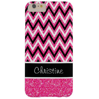 Pink Glitter and Black Chevron iPhone 6 Plus Case