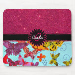 Pink Glitter and Colourful Butterfly Monogram Mouse Pad