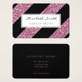 Pink Glitter and Diagonal Stripes, Makeup Artist Business Card